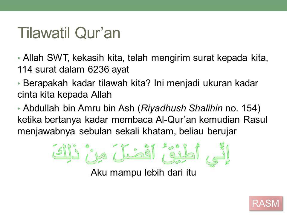 Tilawatil Qur'an Allah SWT, kekasih kita, telah mengirim surat kepada kita, 114 surat dalam 6236 ayat Berapakah kadar tilawah kita? Ini menjadi ukuran