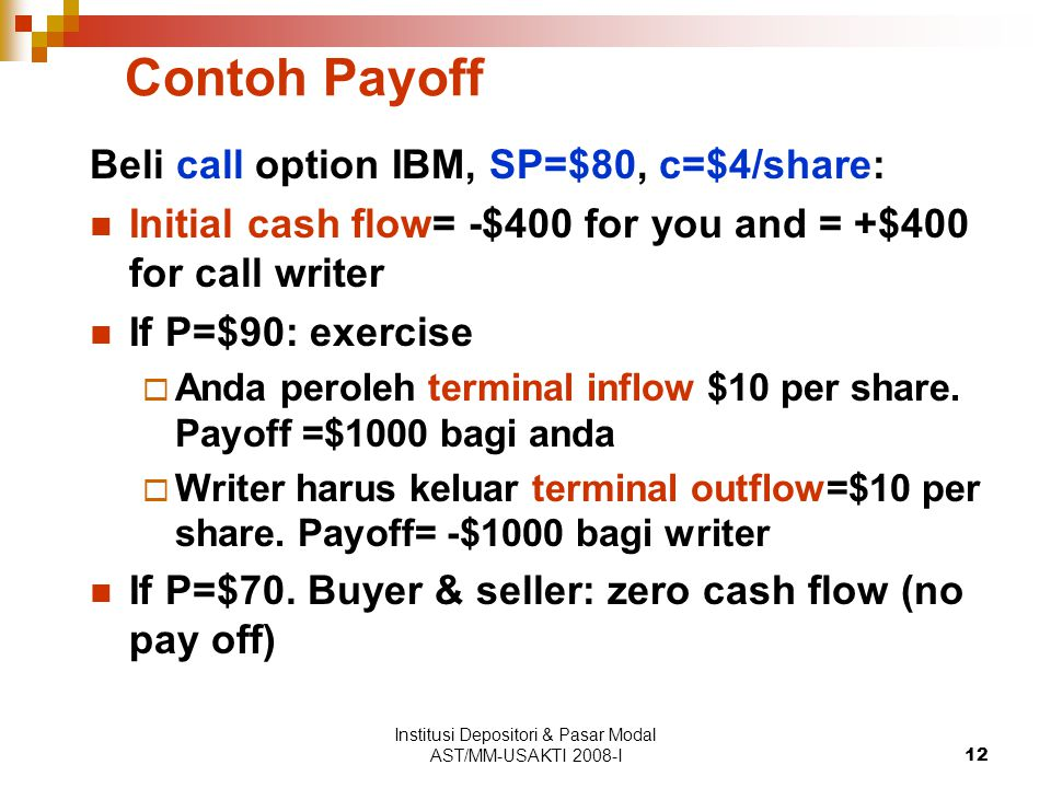 Institusi Depositori & Pasar Modal AST/MM-USAKTI 2008-I12 Contoh Payoff Beli call option IBM, SP=$80, c=$4/share: Initial cash flow= -$400 for you and = +$400 for call writer If P=$90: exercise  Anda peroleh terminal inflow $10 per share.