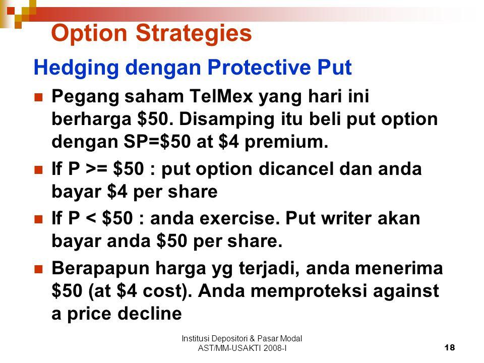 Institusi Depositori & Pasar Modal AST/MM-USAKTI 2008-I18 Option Strategies Hedging dengan Protective Put Pegang saham TelMex yang hari ini berharga $50.