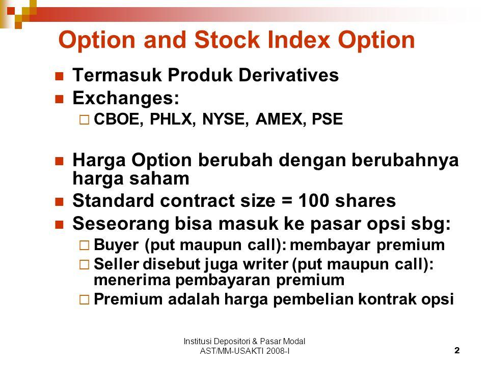 Institusi Depositori & Pasar Modal AST/MM-USAKTI 2008-I2 Option and Stock Index Option Termasuk Produk Derivatives Exchanges:  CBOE, PHLX, NYSE, AMEX