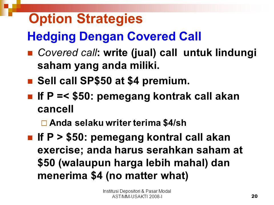 Institusi Depositori & Pasar Modal AST/MM-USAKTI 2008-I20 Option Strategies Hedging Dengan Covered Call Covered call: write (jual) call untuk lindungi saham yang anda miliki.