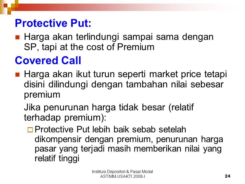 Institusi Depositori & Pasar Modal AST/MM-USAKTI 2008-I24 Protective Put: Harga akan terlindungi sampai sama dengan SP, tapi at the cost of Premium Co