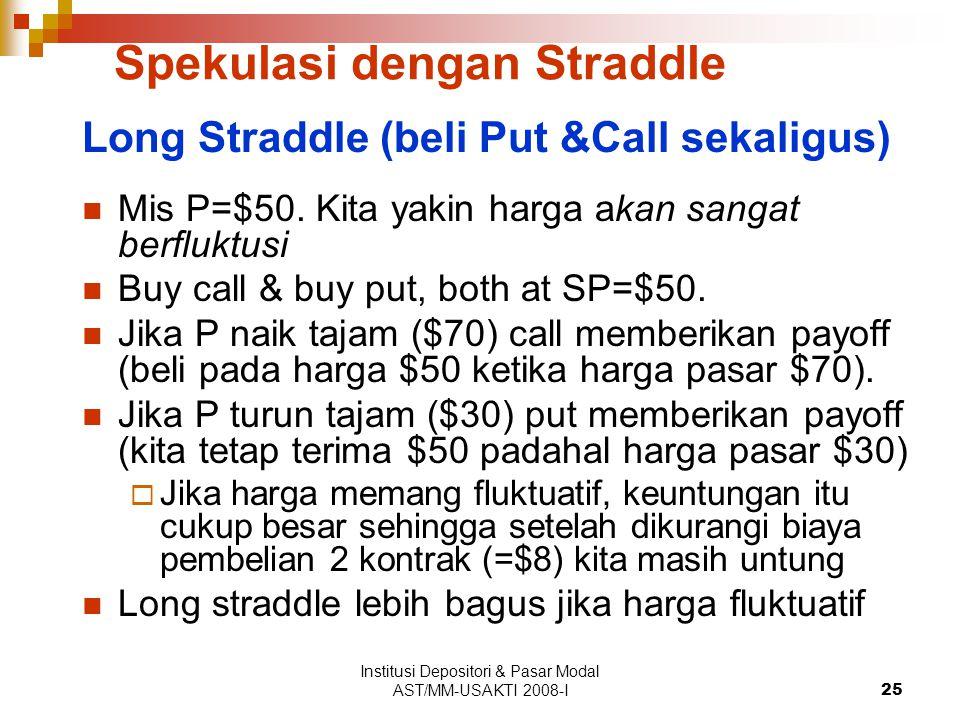 Institusi Depositori & Pasar Modal AST/MM-USAKTI 2008-I25 Spekulasi dengan Straddle Long Straddle (beli Put &Call sekaligus) Mis P=$50. Kita yakin har