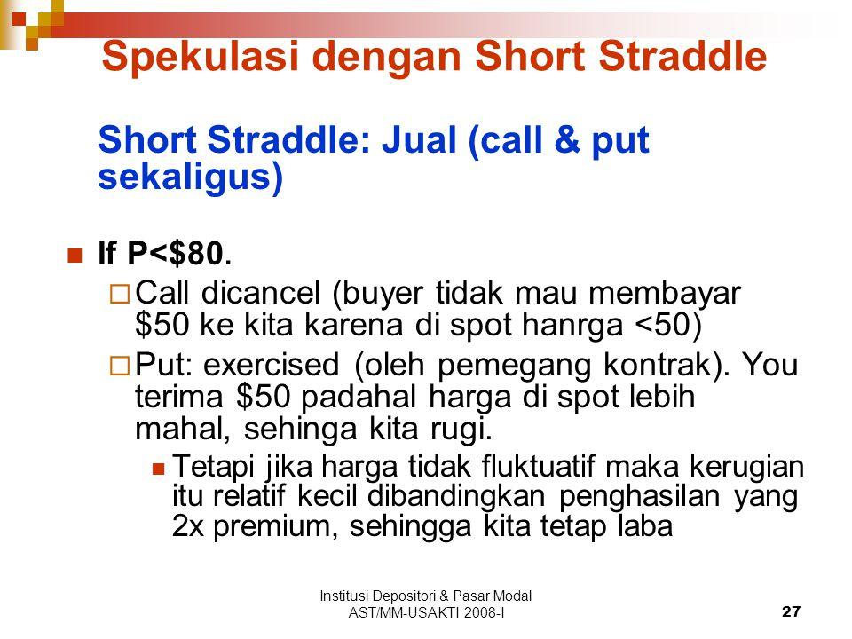 Institusi Depositori & Pasar Modal AST/MM-USAKTI 2008-I27 Spekulasi dengan Short Straddle Short Straddle: Jual (call & put sekaligus) If P<$80.  Call