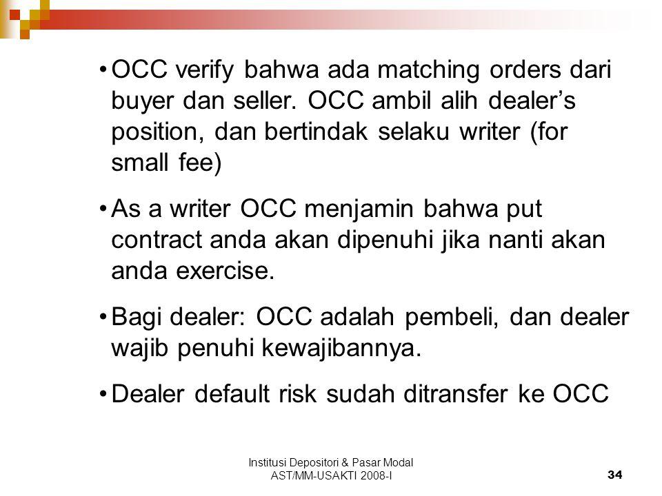 Institusi Depositori & Pasar Modal AST/MM-USAKTI 2008-I34 OCC verify bahwa ada matching orders dari buyer dan seller. OCC ambil alih dealer's position