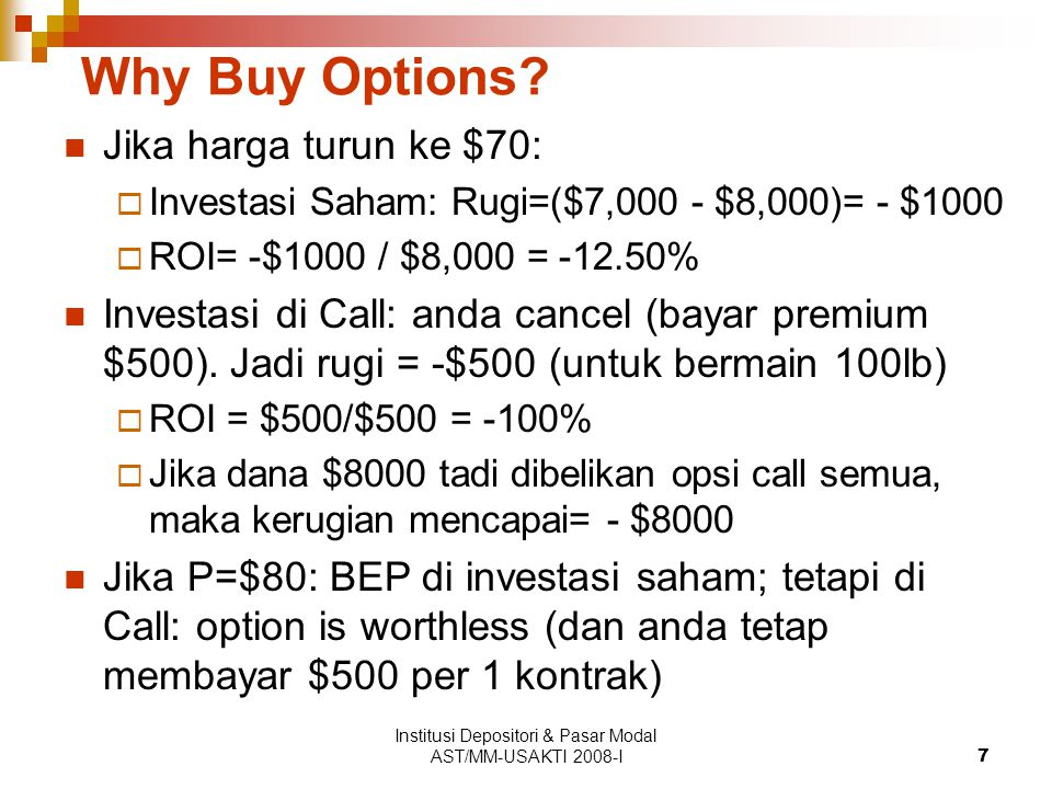 Institusi Depositori & Pasar Modal AST/MM-USAKTI 2008-I28 Straddle -20 1009080706001020304050 -40 20 0 -60 40 60 Stock price ($) Option payoffs ($) Long straddle Short straddle