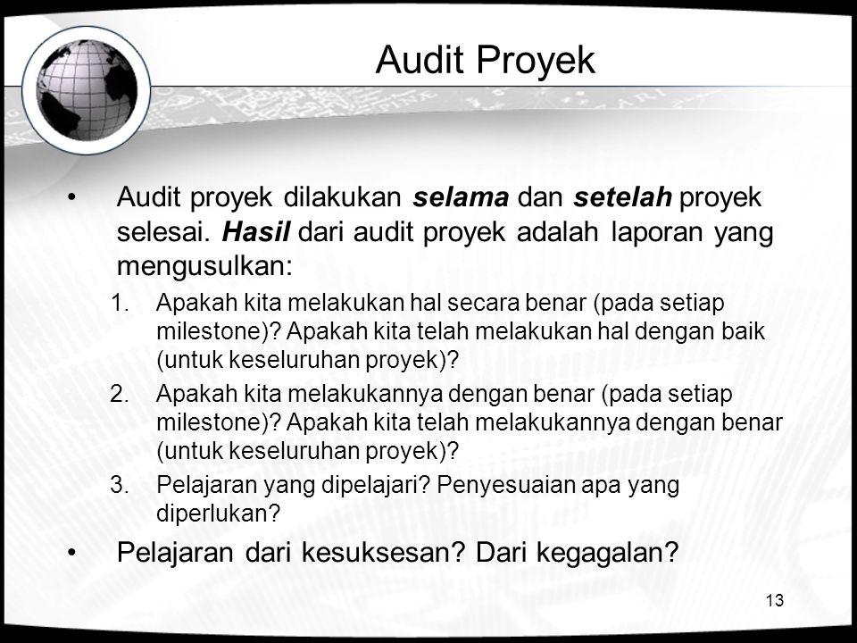 13 Audit Proyek Audit proyek dilakukan selama dan setelah proyek selesai. Hasil dari audit proyek adalah laporan yang mengusulkan: 1.Apakah kita melak