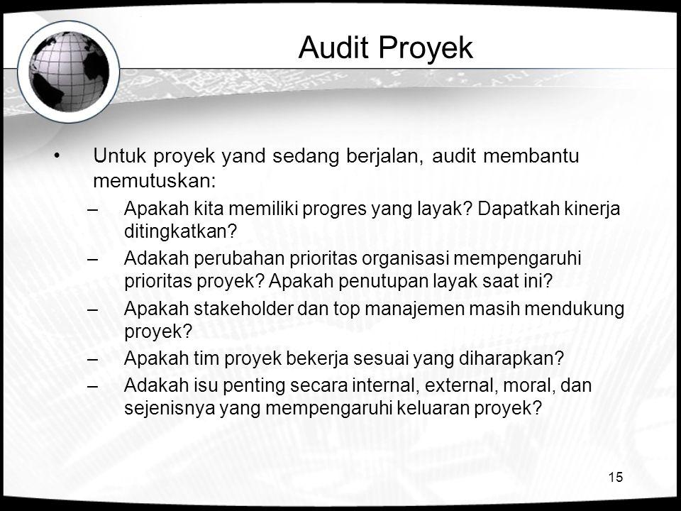 15 Audit Proyek Untuk proyek yand sedang berjalan, audit membantu memutuskan: –Apakah kita memiliki progres yang layak? Dapatkah kinerja ditingkatkan?