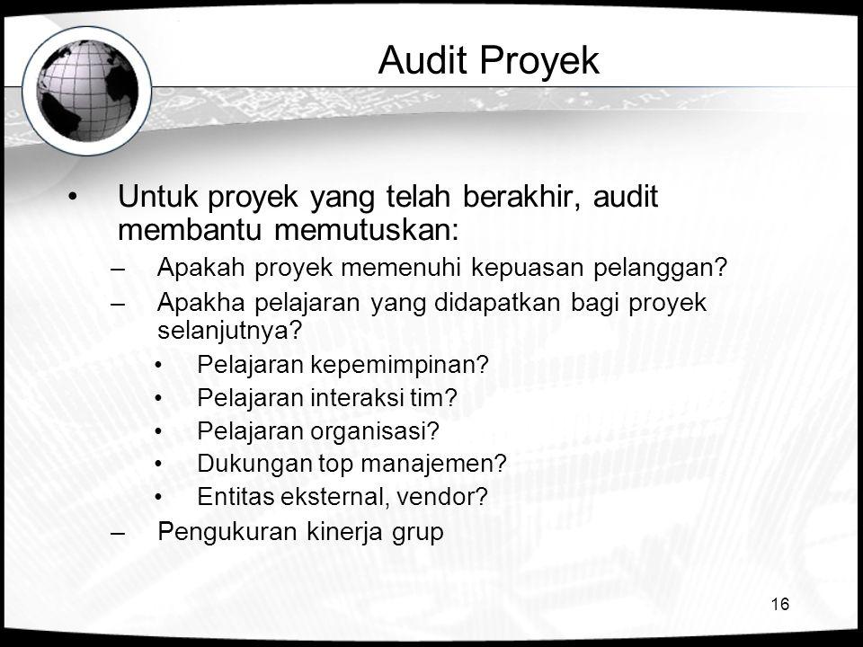 16 Audit Proyek Untuk proyek yang telah berakhir, audit membantu memutuskan: –Apakah proyek memenuhi kepuasan pelanggan? –Apakha pelajaran yang didapa