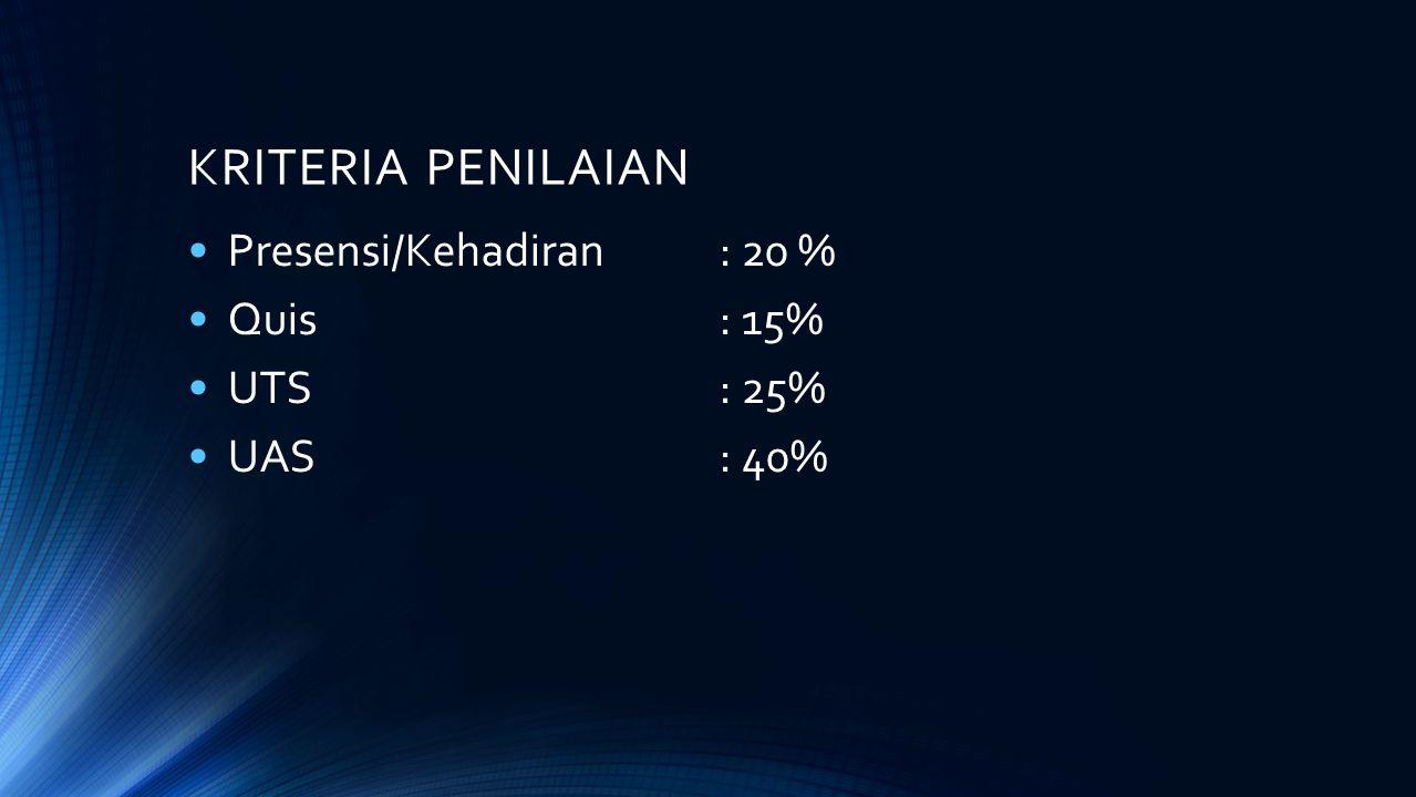KRITERIA PENILAIAN Presensi/Kehadiran: 20 % Quis: 15% UTS: 25% UAS: 40%