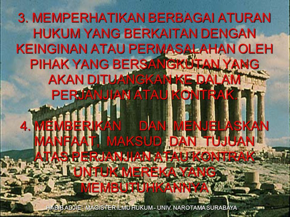 HABIB ADJIE - MAGISTER ILMU HUKUM - UNIV. NAROTAMA SURABAYA 3. MEMPERHATIKAN BERBAGAI ATURAN HUKUM YANG BERKAITAN DENGAN KEINGINAN ATAU PERMASALAHAN O