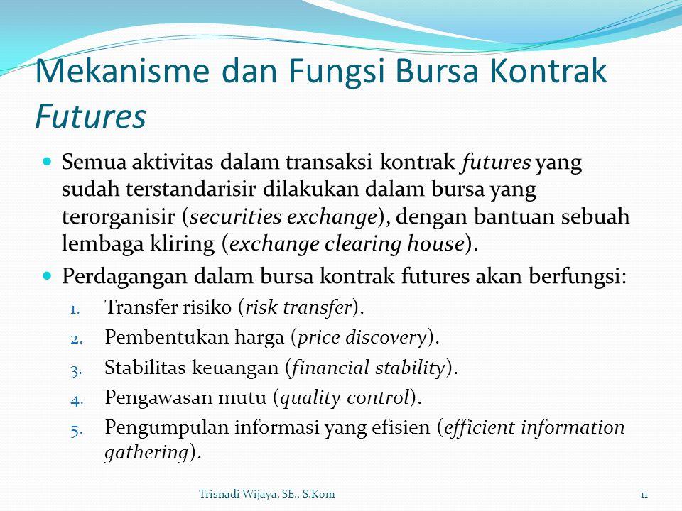 Mekanisme dan Fungsi Bursa Kontrak Futures Semua aktivitas dalam transaksi kontrak futures yang sudah terstandarisir dilakukan dalam bursa yang terorg