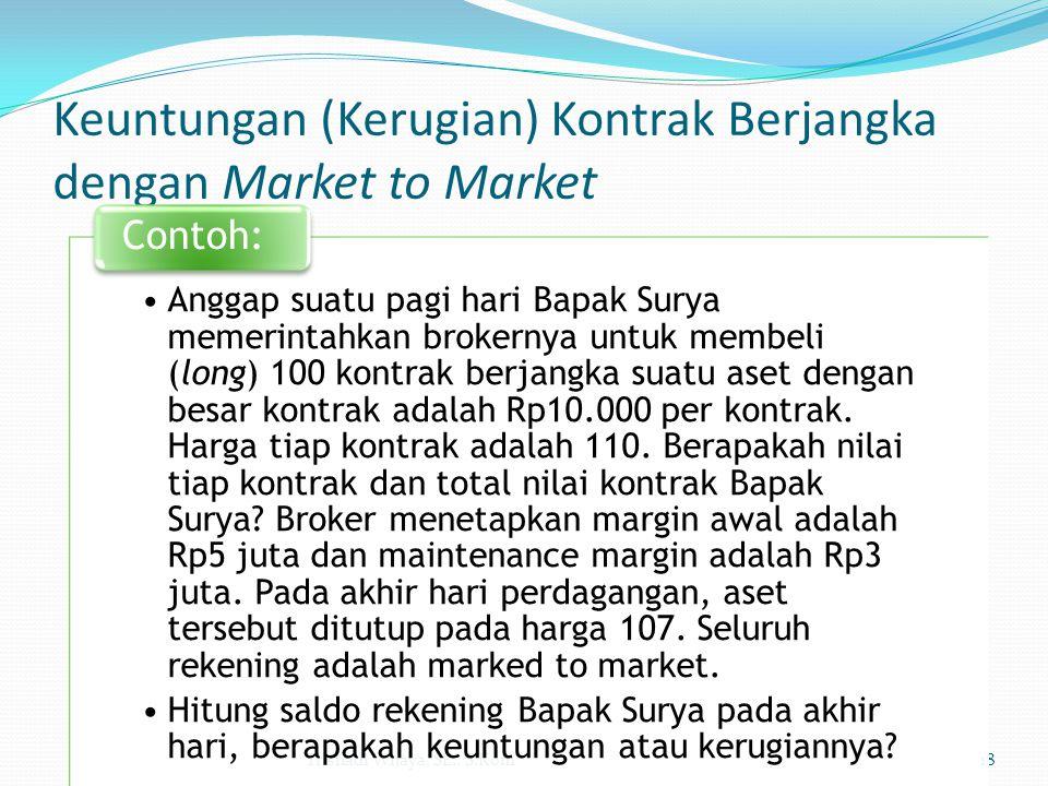 Keuntungan (Kerugian) Kontrak Berjangka dengan Market to Market Trisnadi Wijaya, SE., S.Kom18 Anggap suatu pagi hari Bapak Surya memerintahkan brokern