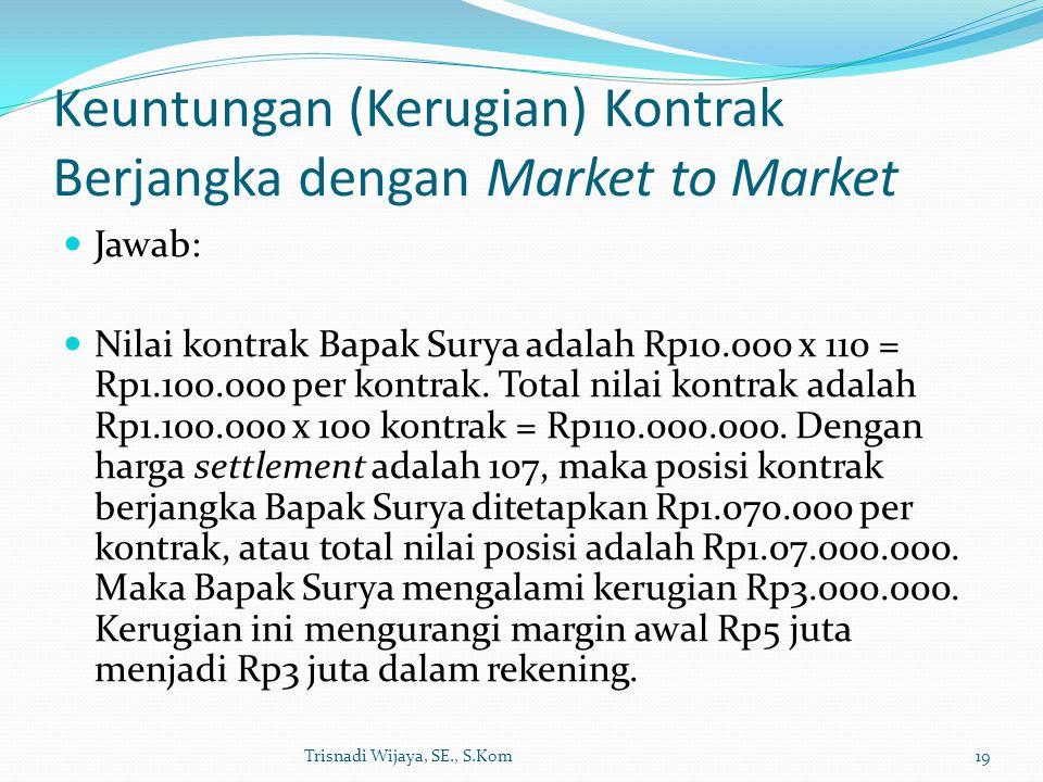 Keuntungan (Kerugian) Kontrak Berjangka dengan Market to Market Jawab: Nilai kontrak Bapak Surya adalah Rp10.000 x 110 = Rp1.100.000 per kontrak. Tota