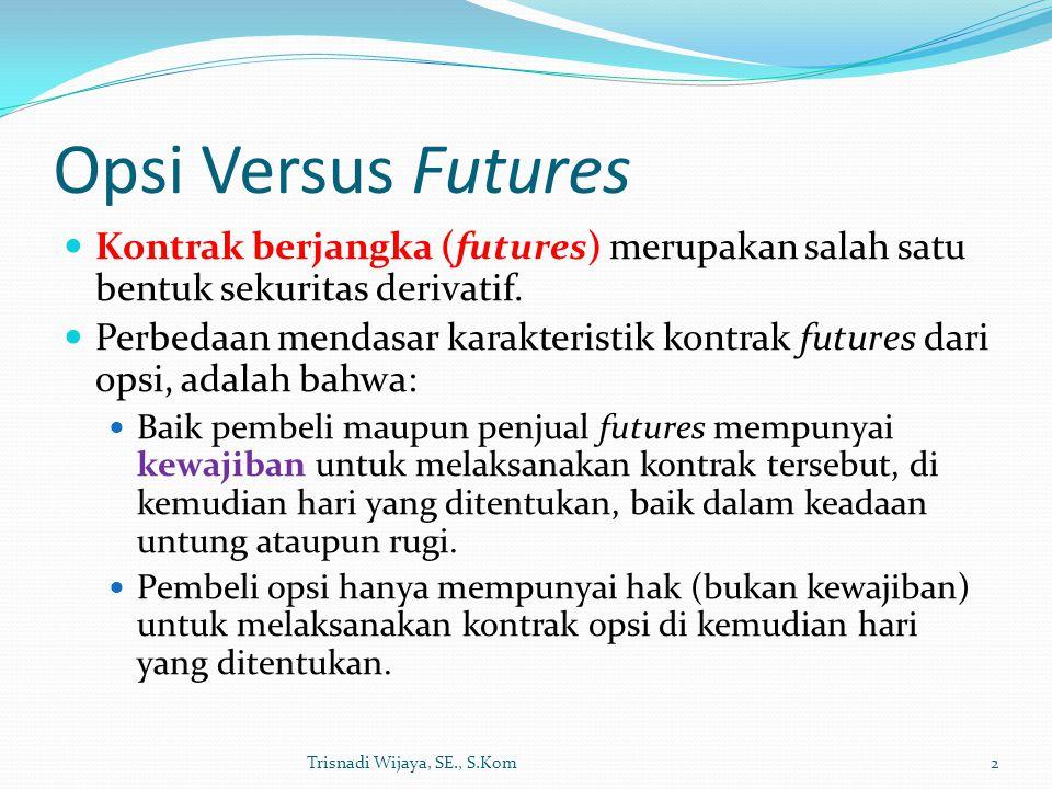 Opsi Versus Futures Kontrak berjangka (futures) merupakan salah satu bentuk sekuritas derivatif. Perbedaan mendasar karakteristik kontrak futures dari
