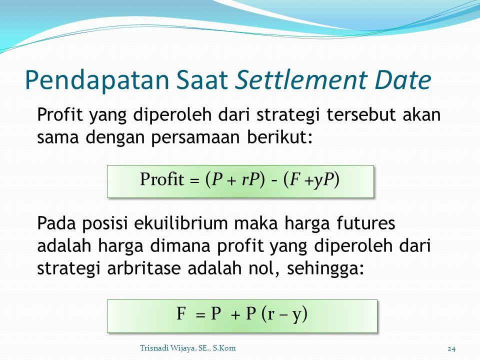 Pendapatan Saat Settlement Date Trisnadi Wijaya, SE., S.Kom24 Profit yang diperoleh dari strategi tersebut akan sama dengan persamaan berikut: Profit