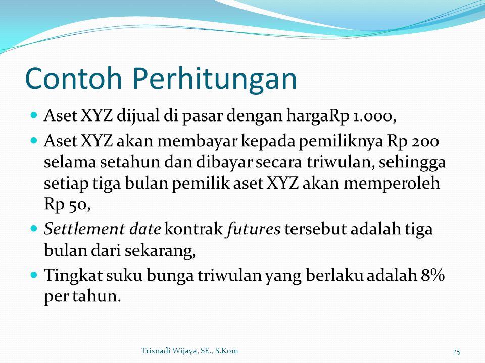 Contoh Perhitungan Aset XYZ dijual di pasar dengan hargaRp 1.000, Aset XYZ akan membayar kepada pemiliknya Rp 200 selama setahun dan dibayar secara triwulan, sehingga setiap tiga bulan pemilik aset XYZ akan memperoleh Rp 50, Settlement date kontrak futures tersebut adalah tiga bulan dari sekarang, Tingkat suku bunga triwulan yang berlaku adalah 8% per tahun.