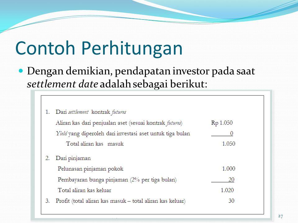 Contoh Perhitungan Dengan demikian, pendapatan investor pada saat settlement date adalah sebagai berikut: Trisnadi Wijaya, SE., S.Kom27