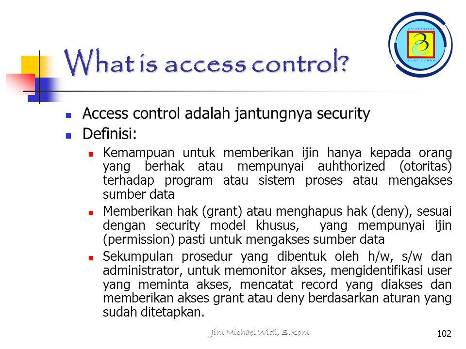 Jim Michael Widi, S.Kom102 What is access control.