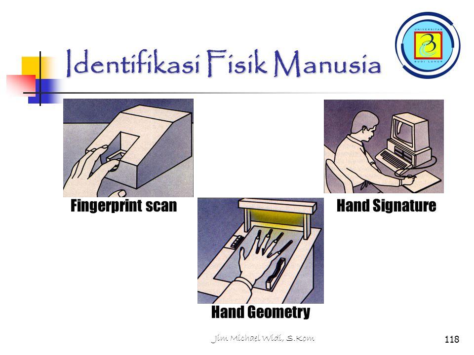 Jim Michael Widi, S.Kom118 Identifikasi Fisik Manusia Fingerprint scan Hand Geometry Hand Signature