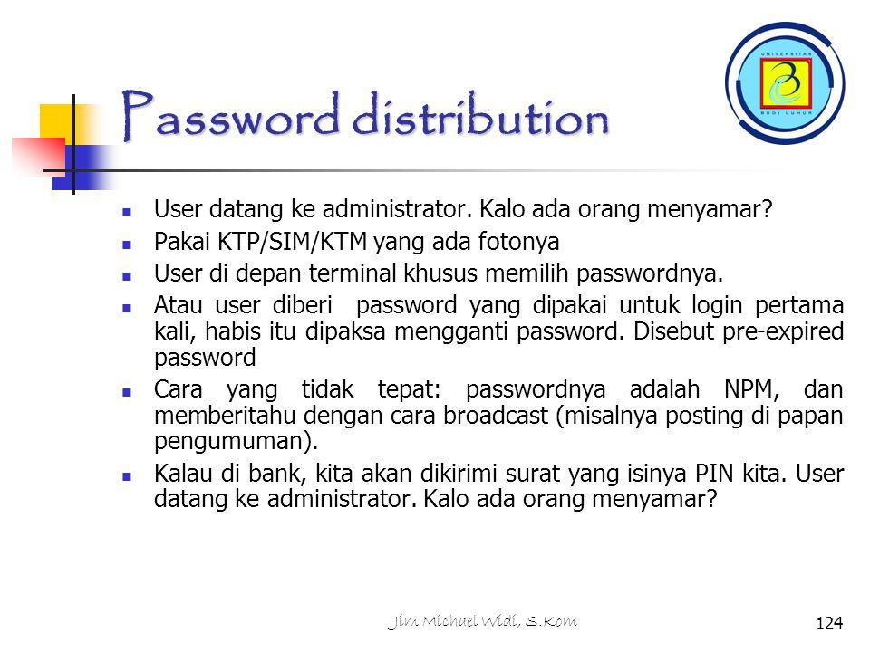 Jim Michael Widi, S.Kom124 Password distribution User datang ke administrator.