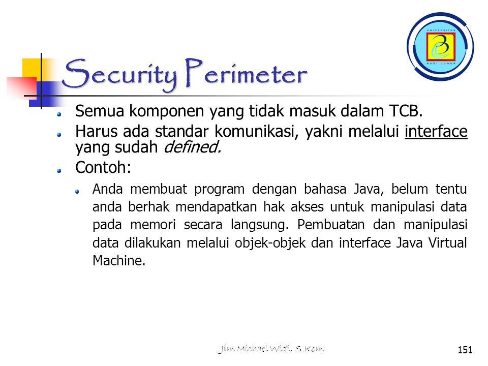 Jim Michael Widi, S.Kom151 Security Perimeter Semua komponen yang tidak masuk dalam TCB.