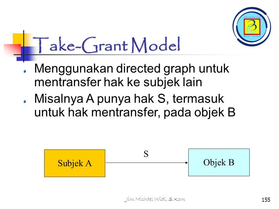Jim Michael Widi, S.Kom155 Take-Grant Model Menggunakan directed graph untuk mentransfer hak ke subjek lain Misalnya A punya hak S, termasuk untuk hak mentransfer, pada objek B Subjek A Objek B S