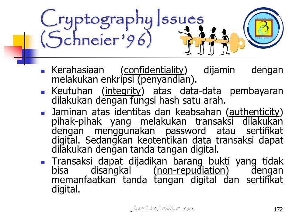 Cryptography Issues (Schneier '96) Kerahasiaan (confidentiality) dijamin dengan melakukan enkripsi (penyandian).