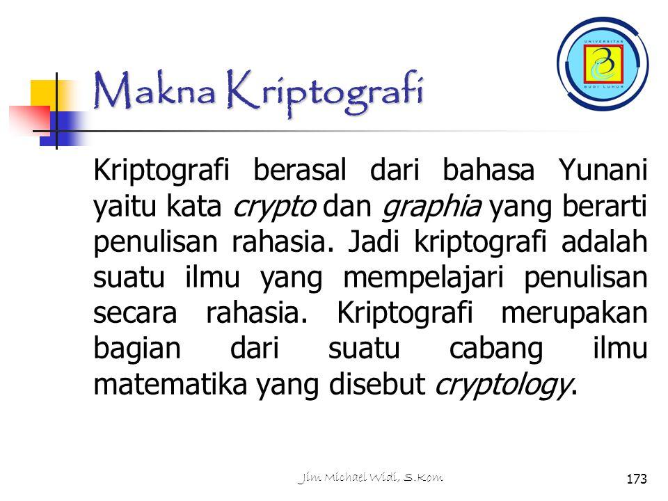 Makna Kriptografi Kriptografi berasal dari bahasa Yunani yaitu kata crypto dan graphia yang berarti penulisan rahasia.