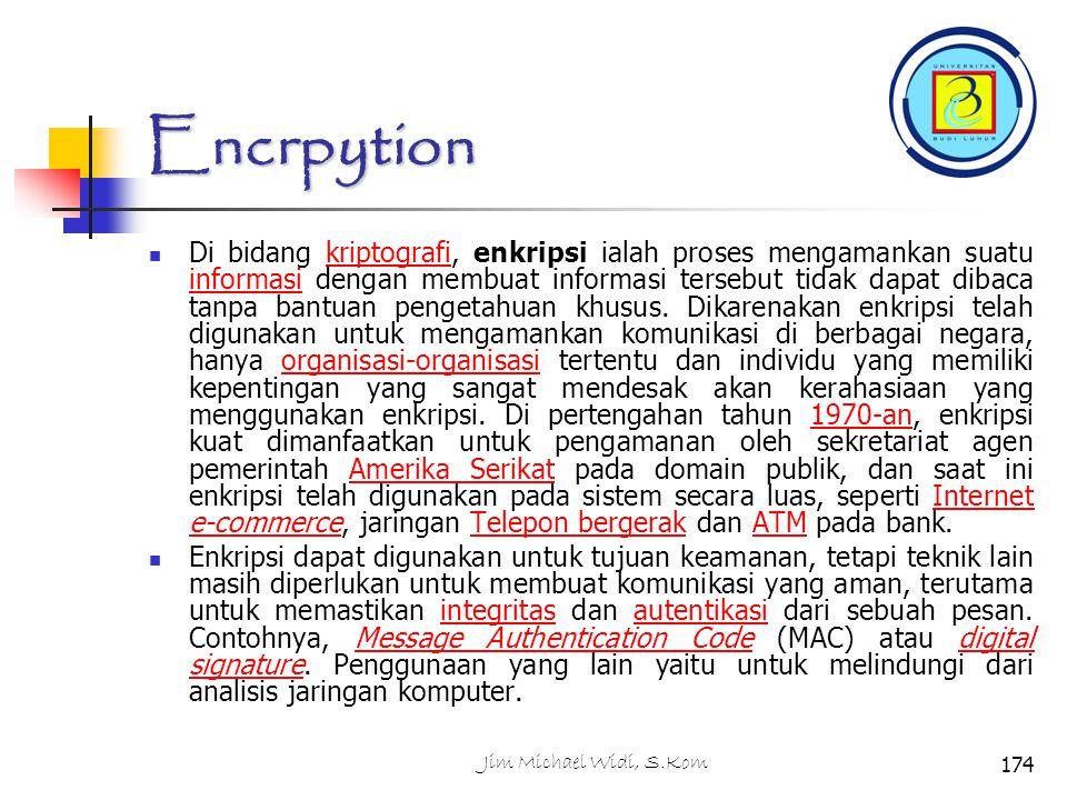 Encrpytion Di bidang kriptografi, enkripsi ialah proses mengamankan suatu informasi dengan membuat informasi tersebut tidak dapat dibaca tanpa bantuan pengetahuan khusus.