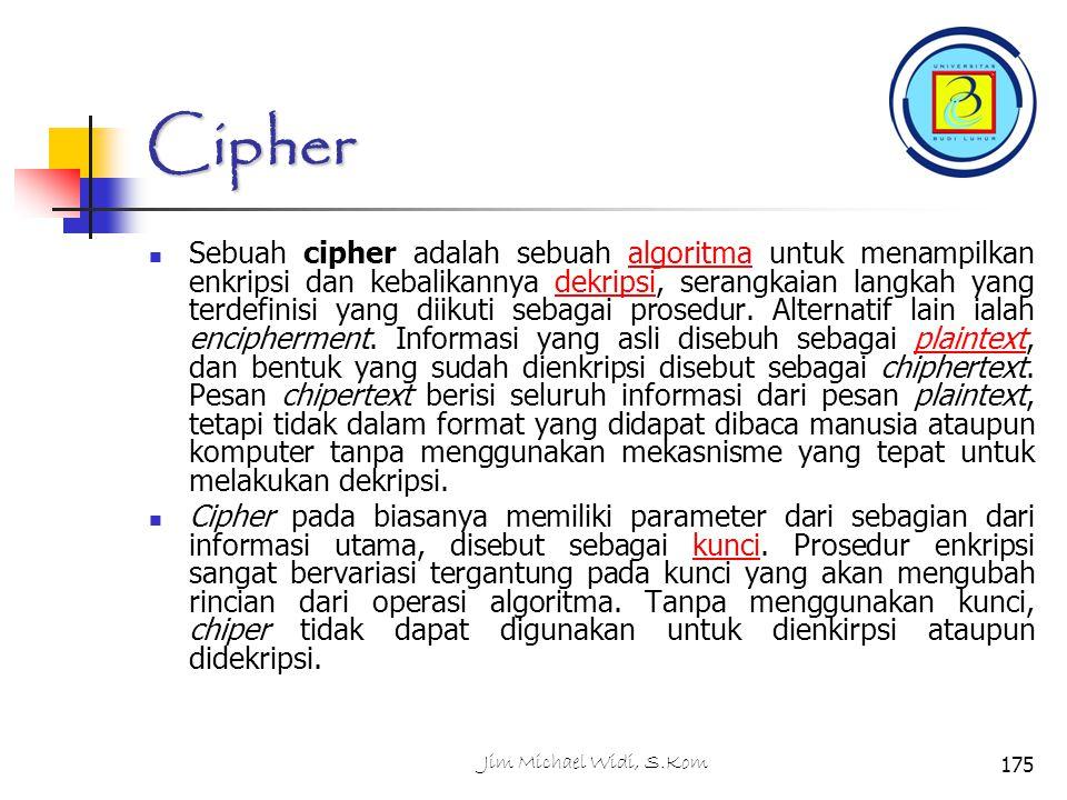 Cipher Sebuah cipher adalah sebuah algoritma untuk menampilkan enkripsi dan kebalikannya dekripsi, serangkaian langkah yang terdefinisi yang diikuti sebagai prosedur.