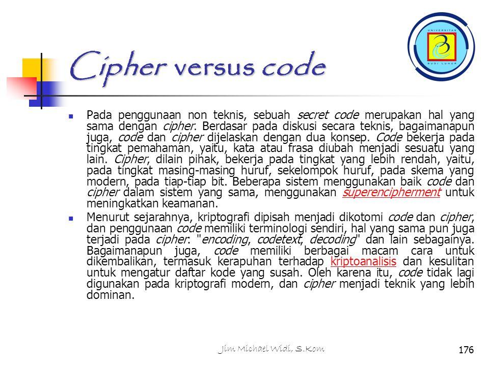 Cipher versus code Pada penggunaan non teknis, sebuah secret code merupakan hal yang sama dengan cipher.