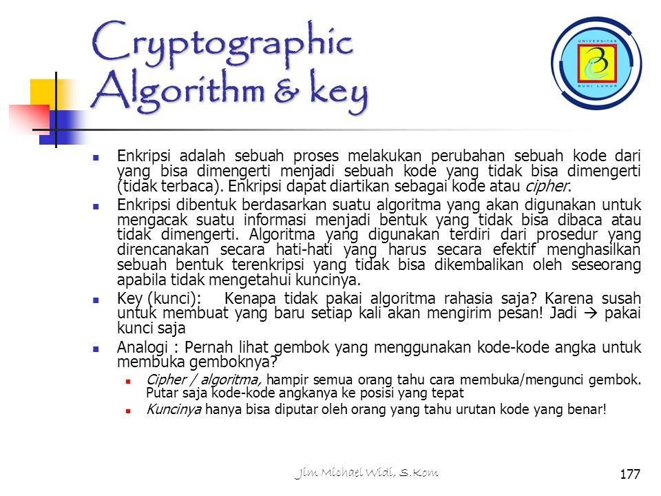 Cryptographic Algorithm & key Enkripsi adalah sebuah proses melakukan perubahan sebuah kode dari yang bisa dimengerti menjadi sebuah kode yang tidak bisa dimengerti (tidak terbaca).
