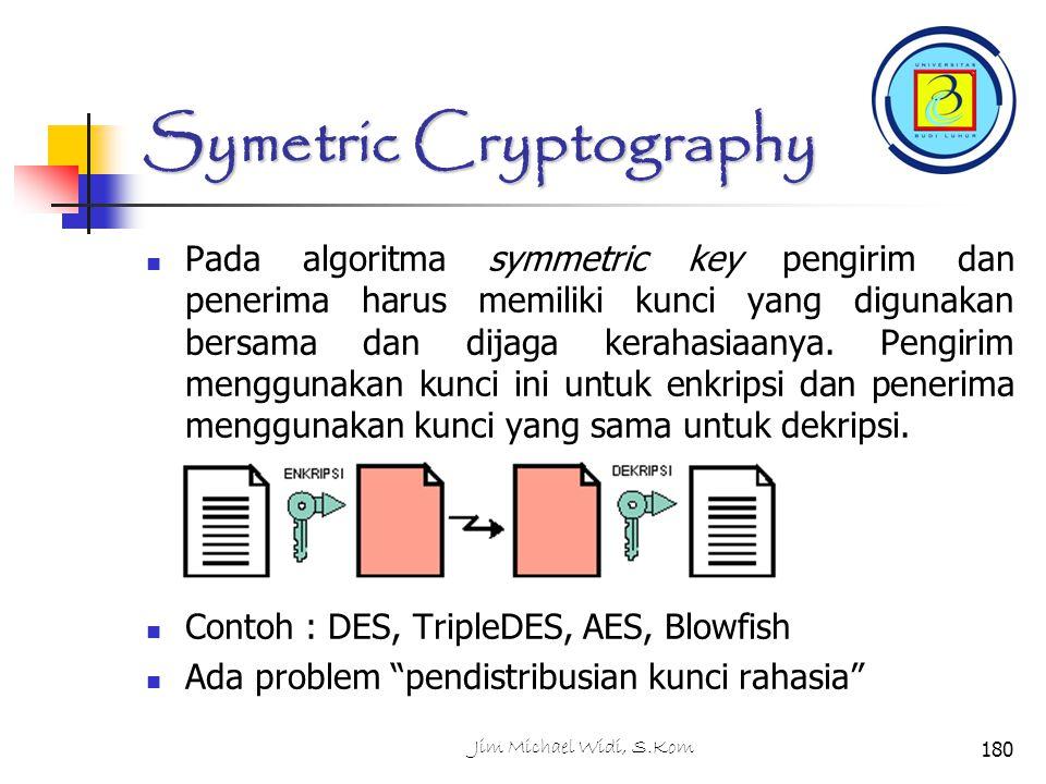 Symetric Cryptography Pada algoritma symmetric key pengirim dan penerima harus memiliki kunci yang digunakan bersama dan dijaga kerahasiaanya.