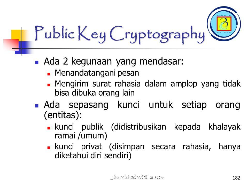 Public Key Cryptography Ada 2 kegunaan yang mendasar: Menandatangani pesan Mengirim surat rahasia dalam amplop yang tidak bisa dibuka orang lain Ada sepasang kunci untuk setiap orang (entitas): kunci publik (didistribusikan kepada khalayak ramai /umum) kunci privat (disimpan secara rahasia, hanya diketahui diri sendiri) 182Jim Michael Widi, S.Kom
