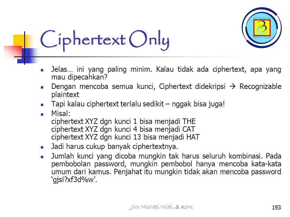 Ciphertext Only Jelas… ini yang paling minim.Kalau tidak ada ciphertext, apa yang mau dipecahkan.
