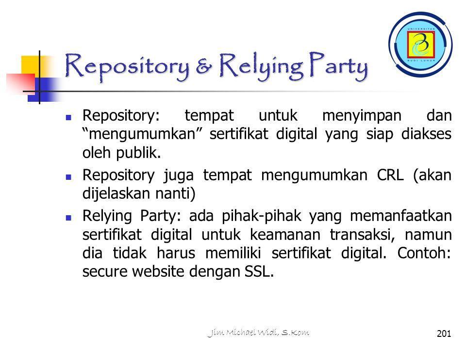 Repository & Relying Party Repository: tempat untuk menyimpan dan mengumumkan sertifikat digital yang siap diakses oleh publik.