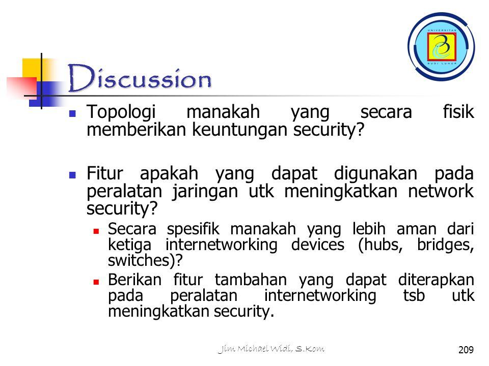 Discussion Topologi manakah yang secara fisik memberikan keuntungan security.