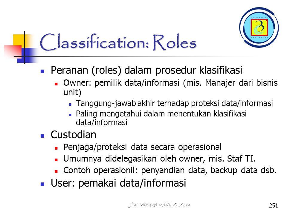 Classification: Roles Peranan (roles) dalam prosedur klasifikasi Owner: pemilik data/informasi (mis.