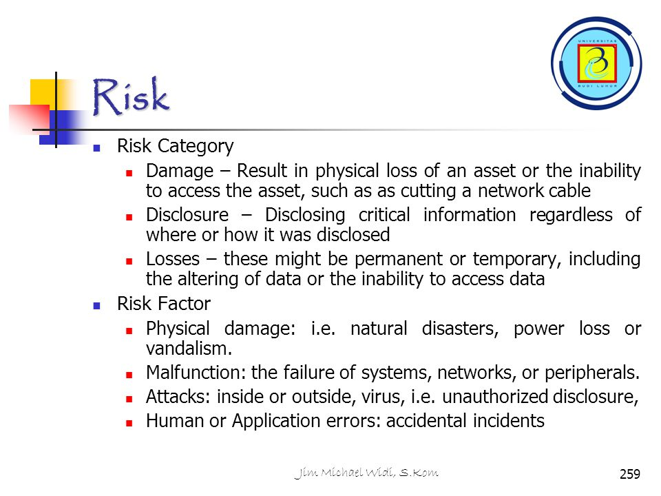 Risk Risk Category Damage – Result in physical loss of an asset or the inability to access the asset, such as as cutting a network cable Disclosure –