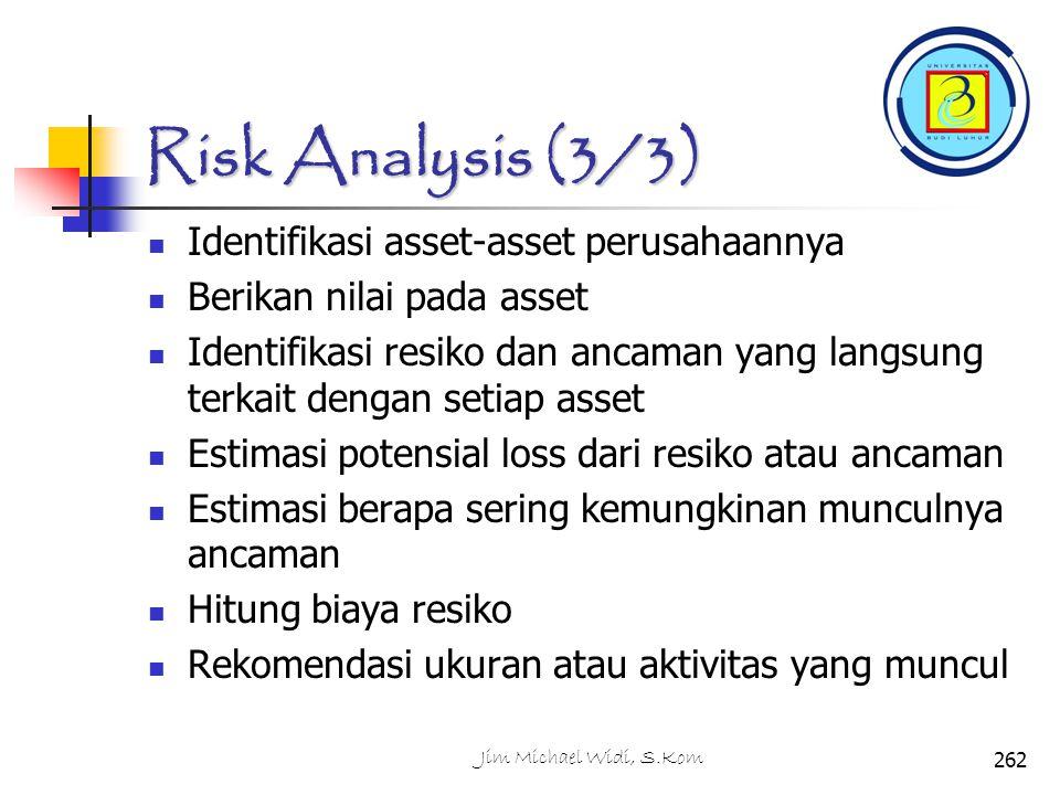 Risk Analysis (3/3) Identifikasi asset-asset perusahaannya Berikan nilai pada asset Identifikasi resiko dan ancaman yang langsung terkait dengan setiap asset Estimasi potensial loss dari resiko atau ancaman Estimasi berapa sering kemungkinan munculnya ancaman Hitung biaya resiko Rekomendasi ukuran atau aktivitas yang muncul 262Jim Michael Widi, S.Kom