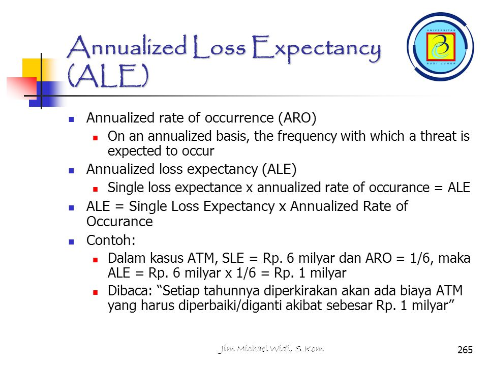 Annualized Loss Expectancy (ALE) Annualized rate of occurrence (ARO) On an annualized basis, the frequency with which a threat is expected to occur An
