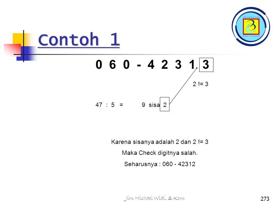 Contoh 1 0 6 0 - 4 2 3 1 3 47 : 5 =9 sisa 2 2 != 3 Karena sisanya adalah 2 dan 2 != 3 Maka Check digitnya salah.