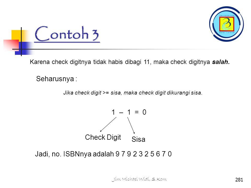Contoh 3 Karena check digitnya tidak habis dibagi 11, maka check digitnya salah.