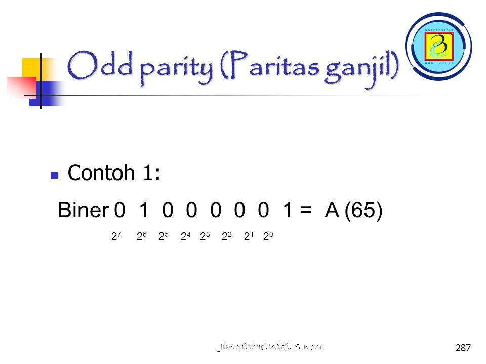 Odd parity (Paritas ganjil) Contoh 1: 2 7 2 6 2 5 2 4 2 3 2 2 2 1 2 0 Biner 0 1 0 0 0 0 0 1 =A (65) 287Jim Michael Widi, S.Kom