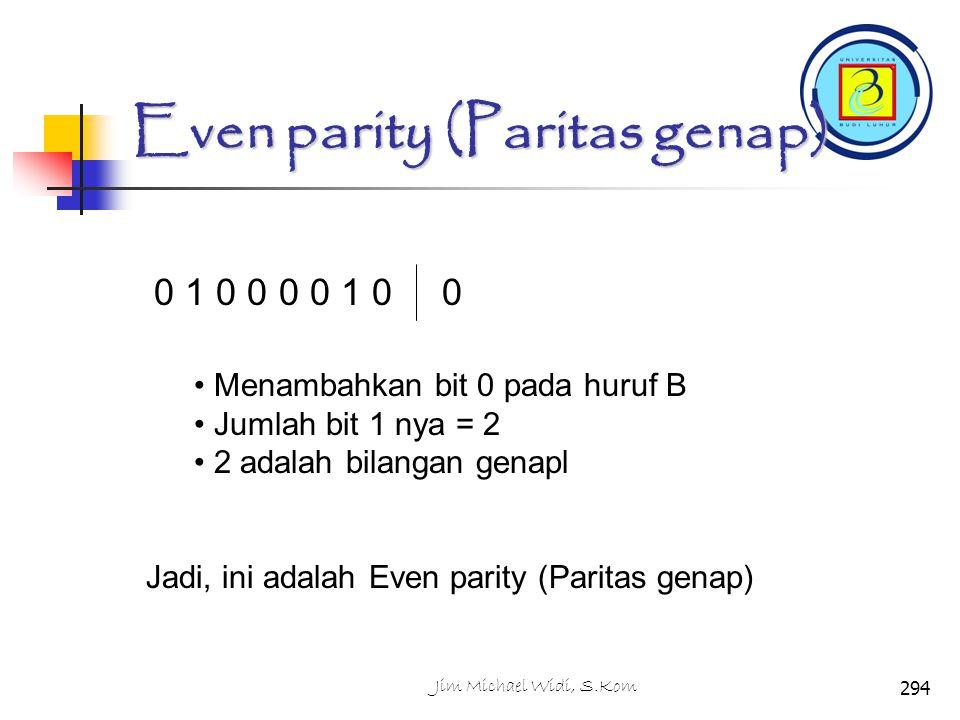 Even parity (Paritas genap) Menambahkan bit 0 pada huruf B Jumlah bit 1 nya = 2 2 adalah bilangan genapl Jadi, ini adalah Even parity (Paritas genap) 0 1 0 0 0 0 1 00 294Jim Michael Widi, S.Kom