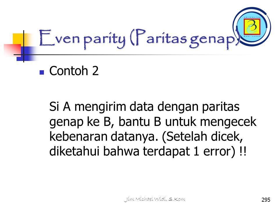 Even parity (Paritas genap) Contoh 2 Si A mengirim data dengan paritas genap ke B, bantu B untuk mengecek kebenaran datanya.