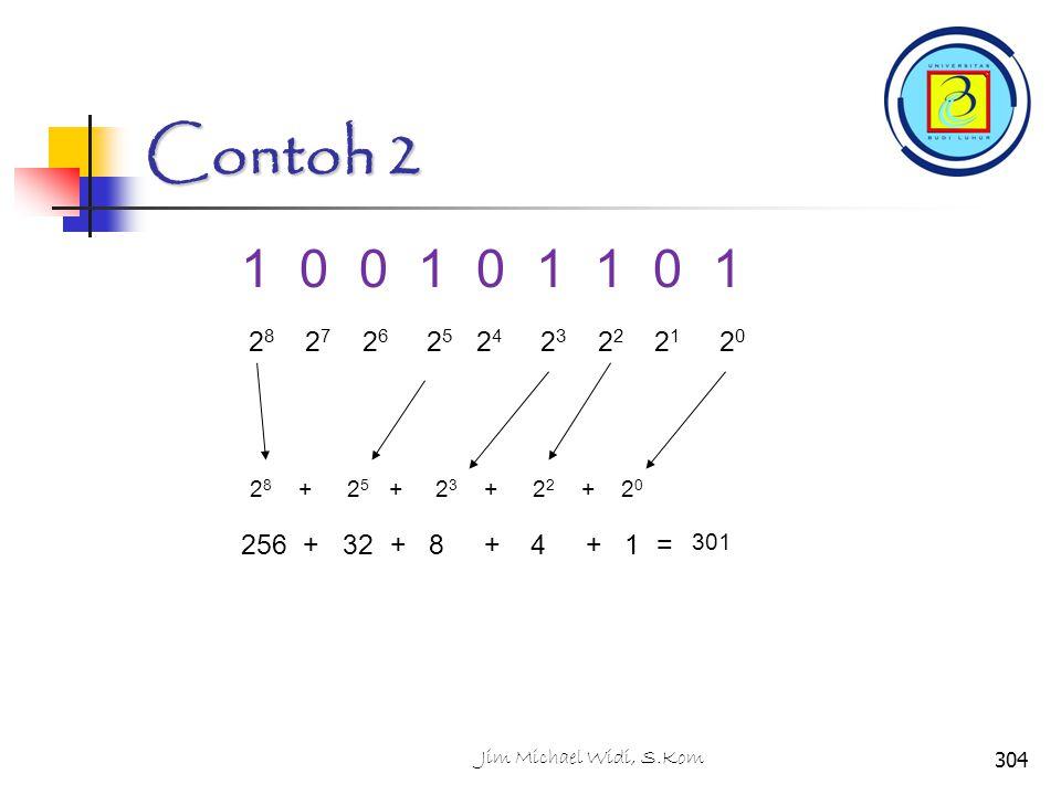Contoh 2 1 0 0 1 0 1 1 0 1 2 8 2 7 2 6 2 5 2 4 2 3 2 2 2 1 2 0 256 + 32 + 8 + 4 + 1 = 301 2 8 +2 5 +2 3 +2 2 +2020 304Jim Michael Widi, S.Kom