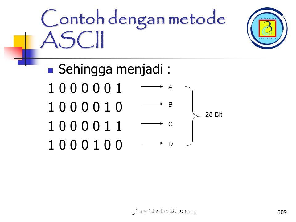 Contoh dengan metode ASCII Sehingga menjadi : 1 0 0 0 0 0 1 1 0 0 0 0 1 0 1 0 0 0 0 1 1 1 0 0 0 1 0 0 A B C D 28 Bit 309Jim Michael Widi, S.Kom