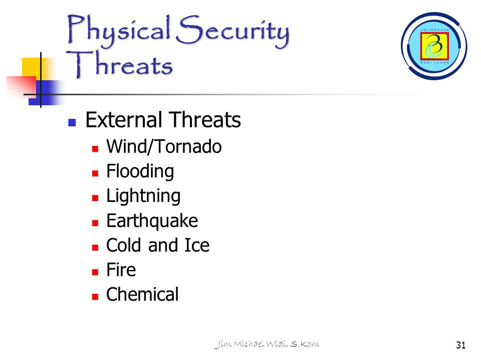 Jim Michael Widi, S.Kom31 Physical Security Threats External Threats Wind/Tornado Flooding Lightning Earthquake Cold and Ice Fire Chemical